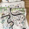 pościel dla dzieci z wypełnieniem w zwierzęta z poduszką w baloniki biała z kolorowym akcentem z wypustką